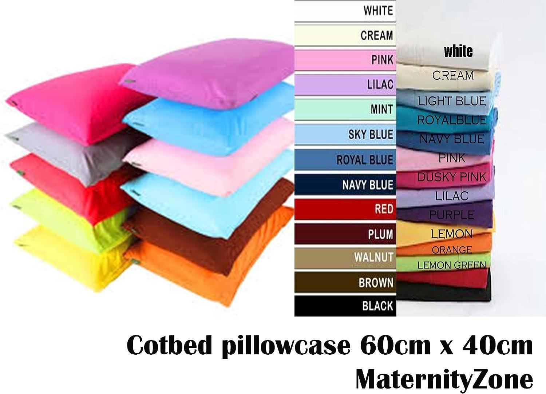 Black AmigoZone Plain Pollycotton Baby Todler Cot Bed Pillow Pair Cases 40 x 60cm