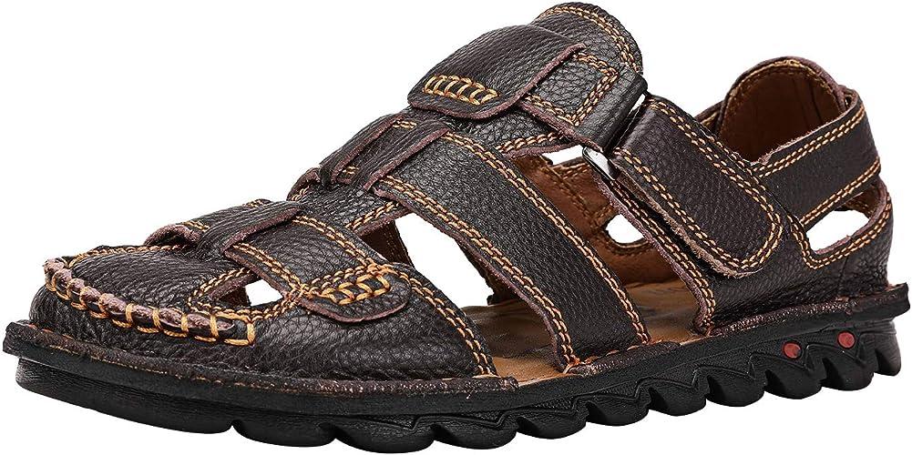 Mens Summer Open Outdoor Leather Sandals Toe Sport Fisherman Sandals Popular