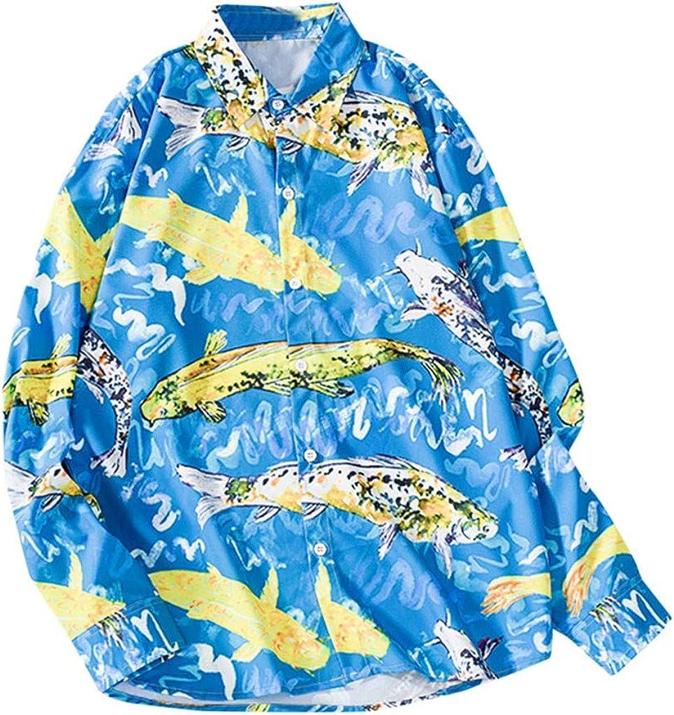 MOTOCO Hombre Camisa de Manga Larga Tops con Cuello En V BotóN Poloshirt Talla Grande con Estampado Floral Casual Playa Blusa(M, Azul): Amazon.es: Ropa y accesorios