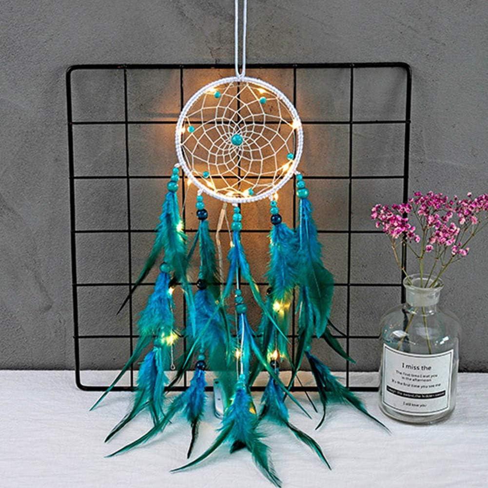 Acchiappasogni a forma di piuma decorazione per la stanza Con LED. decorazione da appendere alla parete WiFndTu acchiappasogni portafortuna