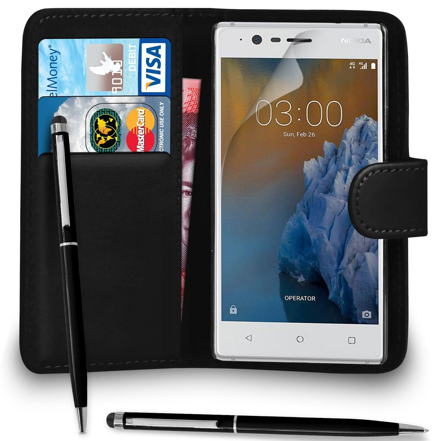 sneakers for cheap e89b1 e3b16 SHUKAN® Premium Leather BLACK Wallet Flip Case Compatible Cover for NOKIA 3  with Ball Pen Touch Stylus Screen Protector & Polishing Cloth