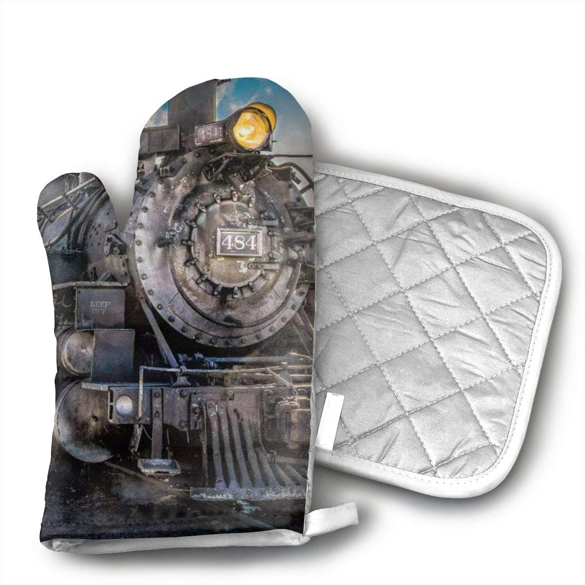 not Retro Steam Train Cotton Heat Resistant Double Oven Mitts/Gloves Potholder Extra for Kitchen Cooking Baking