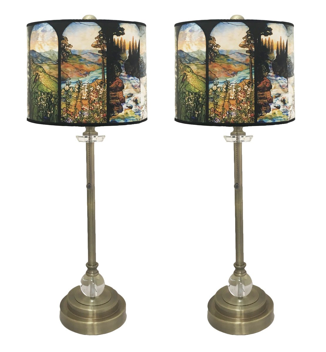 Royal Designs 28'' Crystal and Antique Brass Buffet Lamp with Four Seasons Stained Glass Design Hard Back Lamp Shade, Set of 2