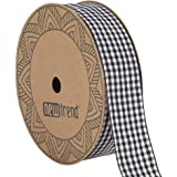 NewTrend Gingham Ribbon 25 Yard Each Roll 100% Polyester Woven Edge (1-Inch, Black)