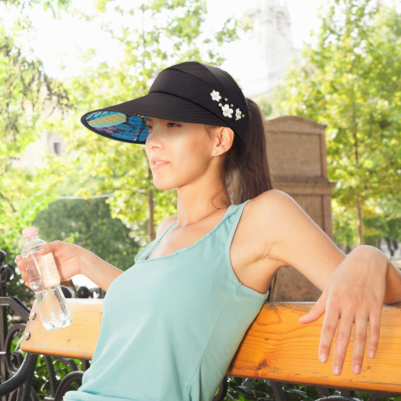 Sonnenblende H/üte f/ür Frauen Wide Brim Sun Hat UV-Schutzkappen Floppy Beach Packable Visor