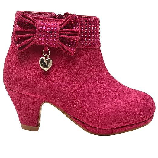 19a6de8fb65e38 ... Little Girls Fuchsia Studded Bow Dangling Heart Boots 9 Toddler great  fit f2188 f318e  Bella Marie Little Girls Silver Glitter Rhinestone Wedge  Sandals ...