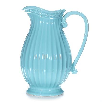 Amazon Dvine Dev 10 Inches Tall Blue Ceramic Pitcher Vase