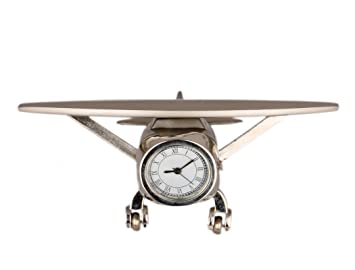 Bazaar Pirates Aeroplane Designer Table Clock Cum Office Desk Clock U0026  Decor(Silver)