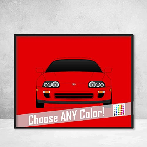 Toyota Supra MK4 Twin Turbo (1993-2000) Poster Print Wall Art Decor Handmade