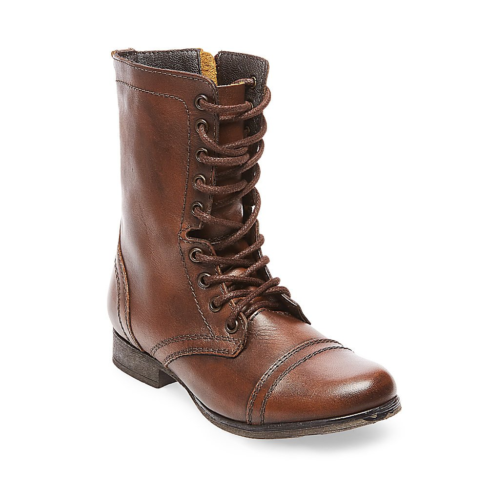 Steve Madden Women's Troopa Lace-Up Boot, Brown Leather, 9 M US