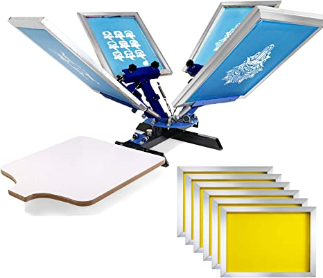SHZOND Screen Printing Press 1 Color 1 Station Silk Screen Machine 21.7 x 17.7 Removable Pallet Screen Printing Machine Press for T-Shirt DIY Printing 1 Color 1 Station Renewed