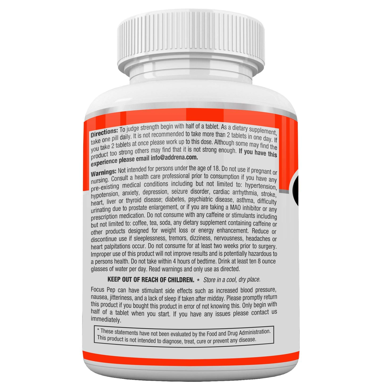 Addrena Focus Pep 2 Pack- Over The Counter Stimulants to Speed Up Naturally: Study Alternative and Best Energy Supplements for Nootropic Brain Boosting, 1207 mg, 60 Pills by Addrena