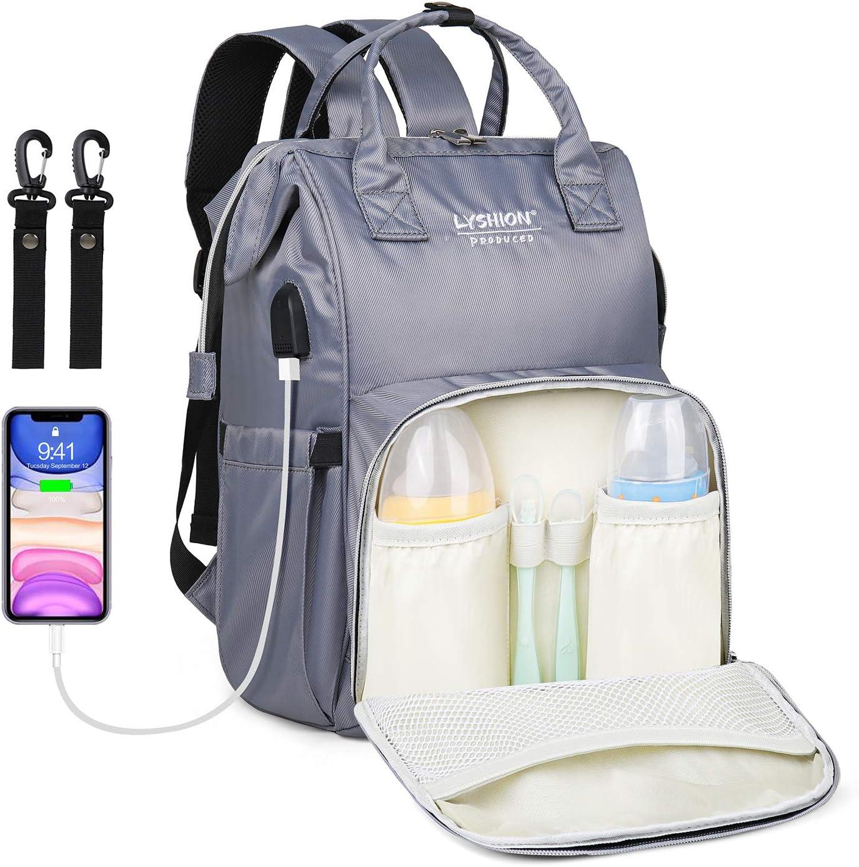 Bolso cambiador grande para bebé, bolsa de pañales, multifunción, elegante, para viajes, maternidad, bebé, con puerto de carga USB para mamá y papá