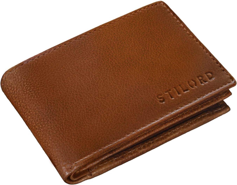 STILORD 'Lincoln' Monedero Mini Billetera Cuero RFID NFC Protección Slim Wallet para Hombres y con Billetera Mondero Piel, Color:Texas - marrón