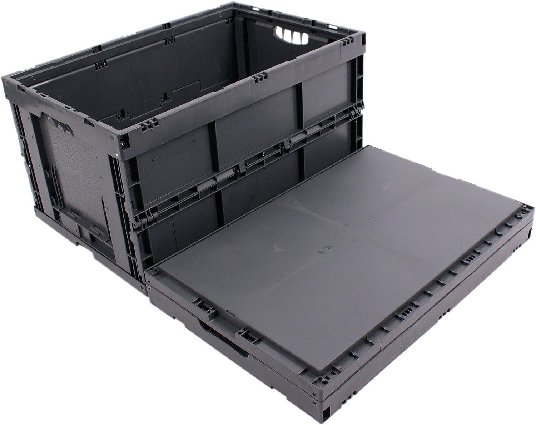 CAJA PLEGABLE 61L, caja plegable de plastico, caja de transporte, cesta de la compra, 60x40x32cm, gris: Amazon.es: Bricolaje y herramientas