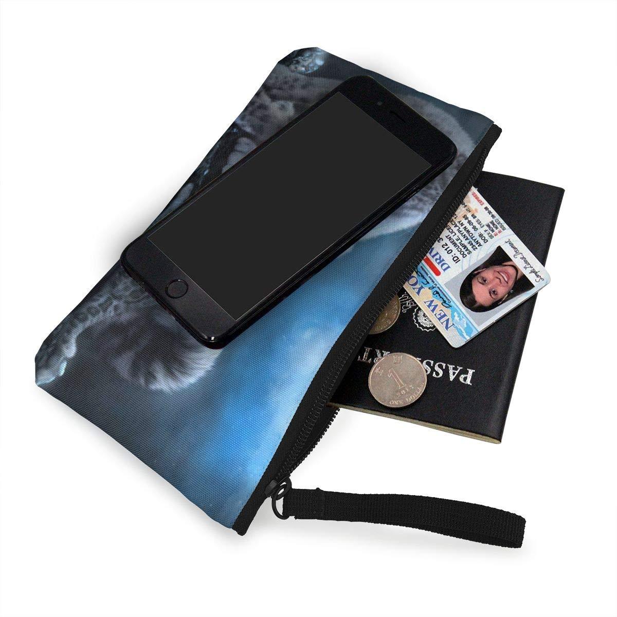 Canvas Cash Coin Purse,Cute Snow Leopard Print Make Up Bag Zipper Small Purse Wallets