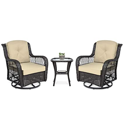 Astounding Best Choice Products 3 Piece Outdoor Wicker Patio Bistro Set W 2 360 Degree Swivel Rocking Chairs And Tempered Glass Top Side Table Beige Cjindustries Chair Design For Home Cjindustriesco