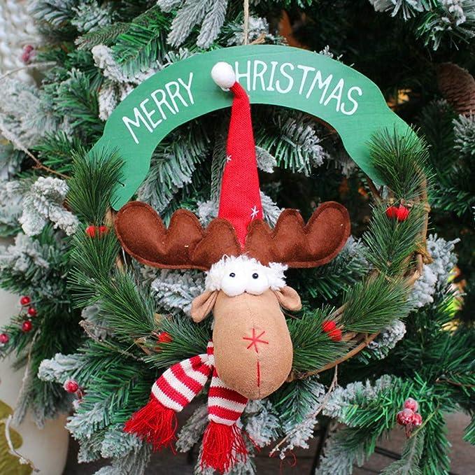 KaloryWee árbol de Navidad Colgante árbol de Fiesta Decor Elk Wreath ...