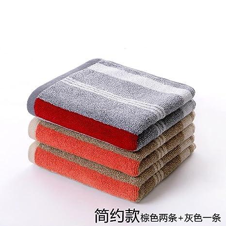 QUEENS Toalla de algodón Toalla Facial tres colocar algodón satén engrosada lavar toalla moda rayas Simplicidad