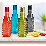 Steelo Stark Plastic Water Bottle, 1 Litre, Set of 4, Multicolour