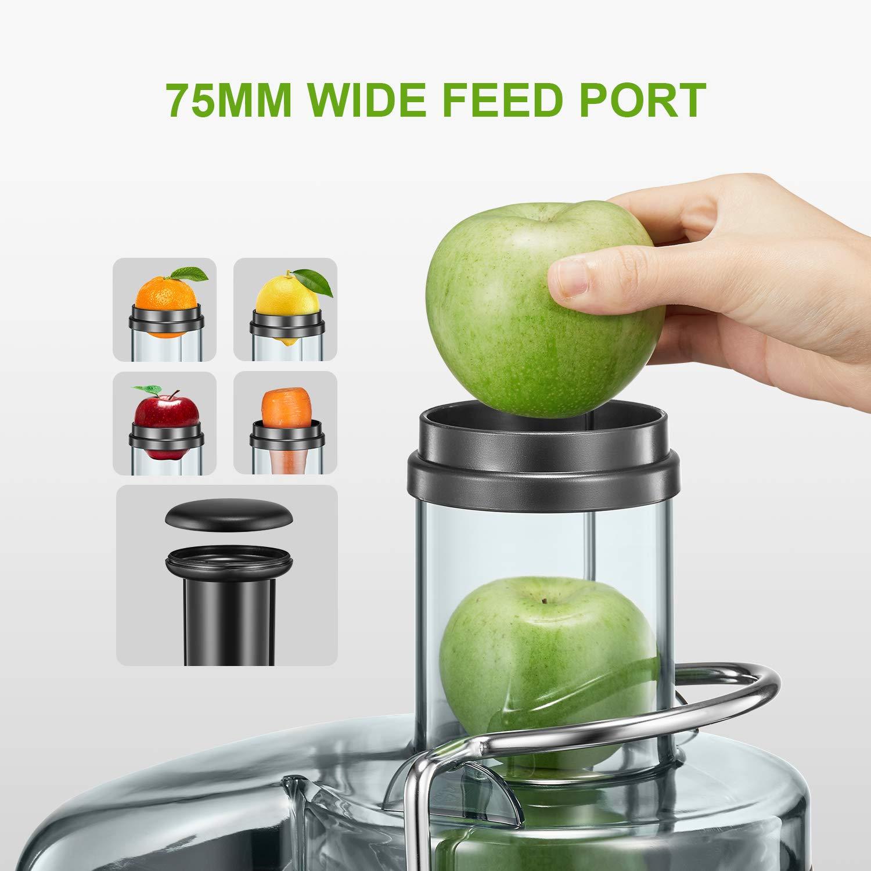 Dise/ño Antigoteo Libre de BPA Aicok 800W Centr/ífugo con Boca Ancha de 75MM Doble Velocidad con Pies Antideslizantes Licuadoras Para Verduras y Frutas