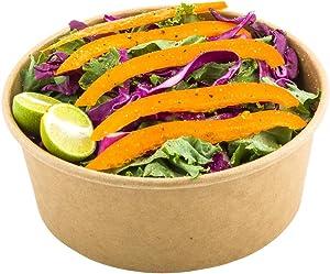 Bio Salad 25 oz Round Kraft Paper Container - 6