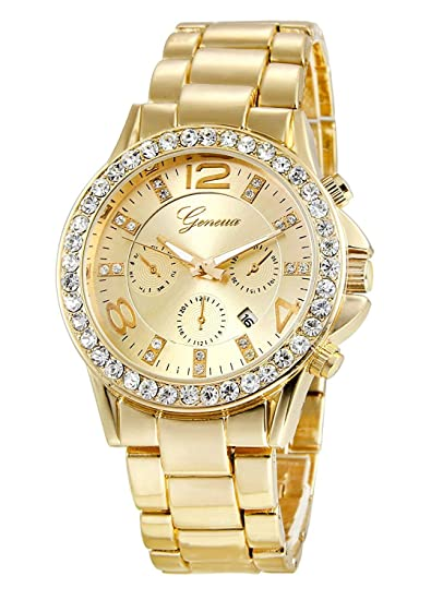 e617d28ba Image Unavailable. Image not available for. Color: Geneva Golden Alloy  Analog Luxury Quartz Wrist Watch Gifts