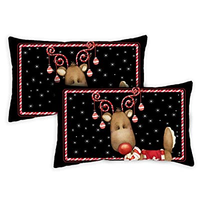 Toland Home Garden 771304 Candy Cane Reindeer 12 x 19 Inch Indoor/Outdoor, Pillow Case (2-Pack) : Garden & Outdoor