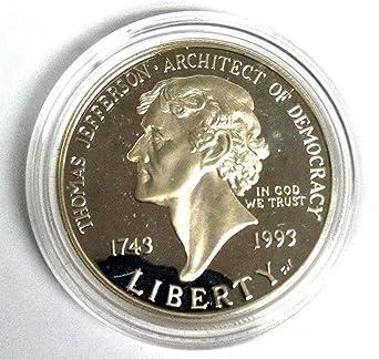 1993 Thomas Jefferson 250th Anniv Commem Silver Proof Dollar Coin NO BOX NO COA