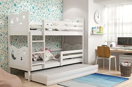 Letto triplo per bambini MIKO, lettino a castello con terzo letto ...