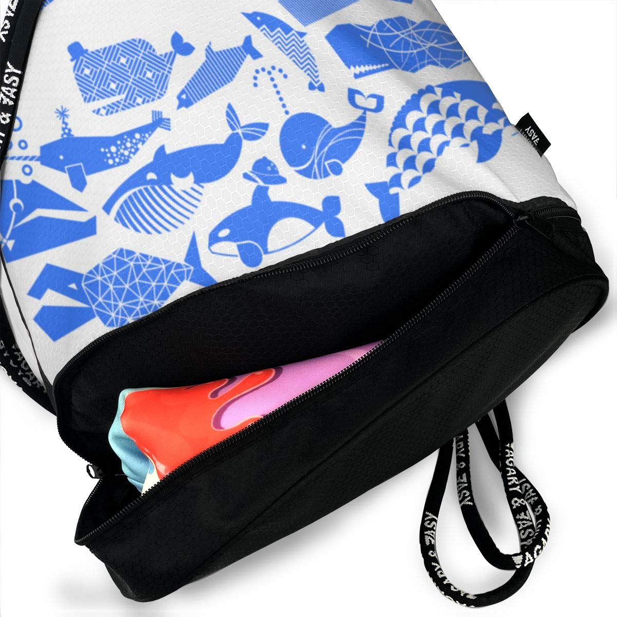 A Geometric Cetacean Parade Bright Blue Drawstring Backpack Sports Athletic Gym Cinch Sack String Storage Bags for Hiking Travel Beach