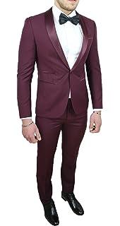 fc72a87ed0d7 Abito Completo Uomo Sartoriale Bordeaux Raso Vestito Smoking Elegante  Cerimonia
