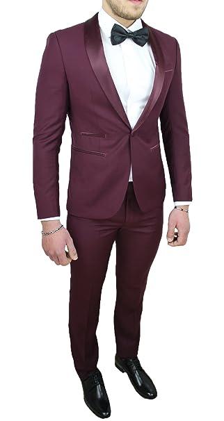 d173a2a8dfe6 Abito Completo Uomo Sartoriale Bordeaux Raso Vestito Smoking Elegante  Cerimonia  Amazon.it  Abbigliamento