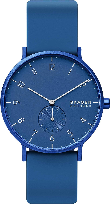 Skagen Aaren Reloj minimalista de cuarzo de silicona, 41 mm