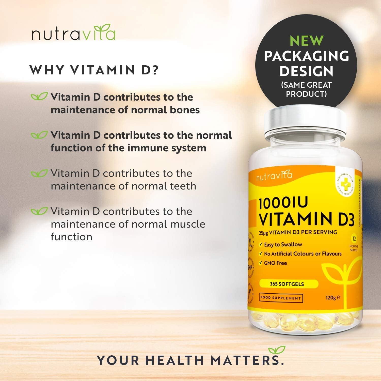 Vitamina D3 1000 UI - 365 Cápsulas de Gel de Colecalciferol ...