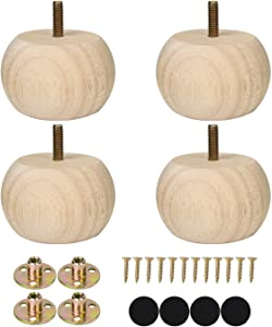 2 Inch Bun Feet for Furniture Unfinished Solid Hardwood Round Ottoman/Couch/Sofa Legs Set of 4