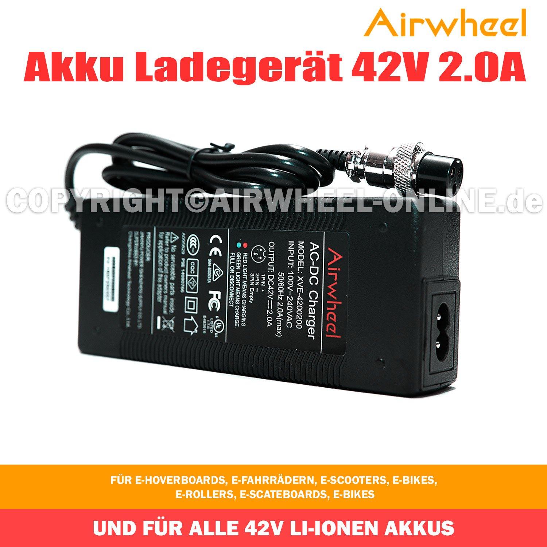 airwheel Chargeur de batterie 42 V 2.0 A pour rollers de vé los, scooters é lectronique, E é lectronique, E de scate Boards et tous les 42 V Batteries Li-Ion scooters électronique E électronique