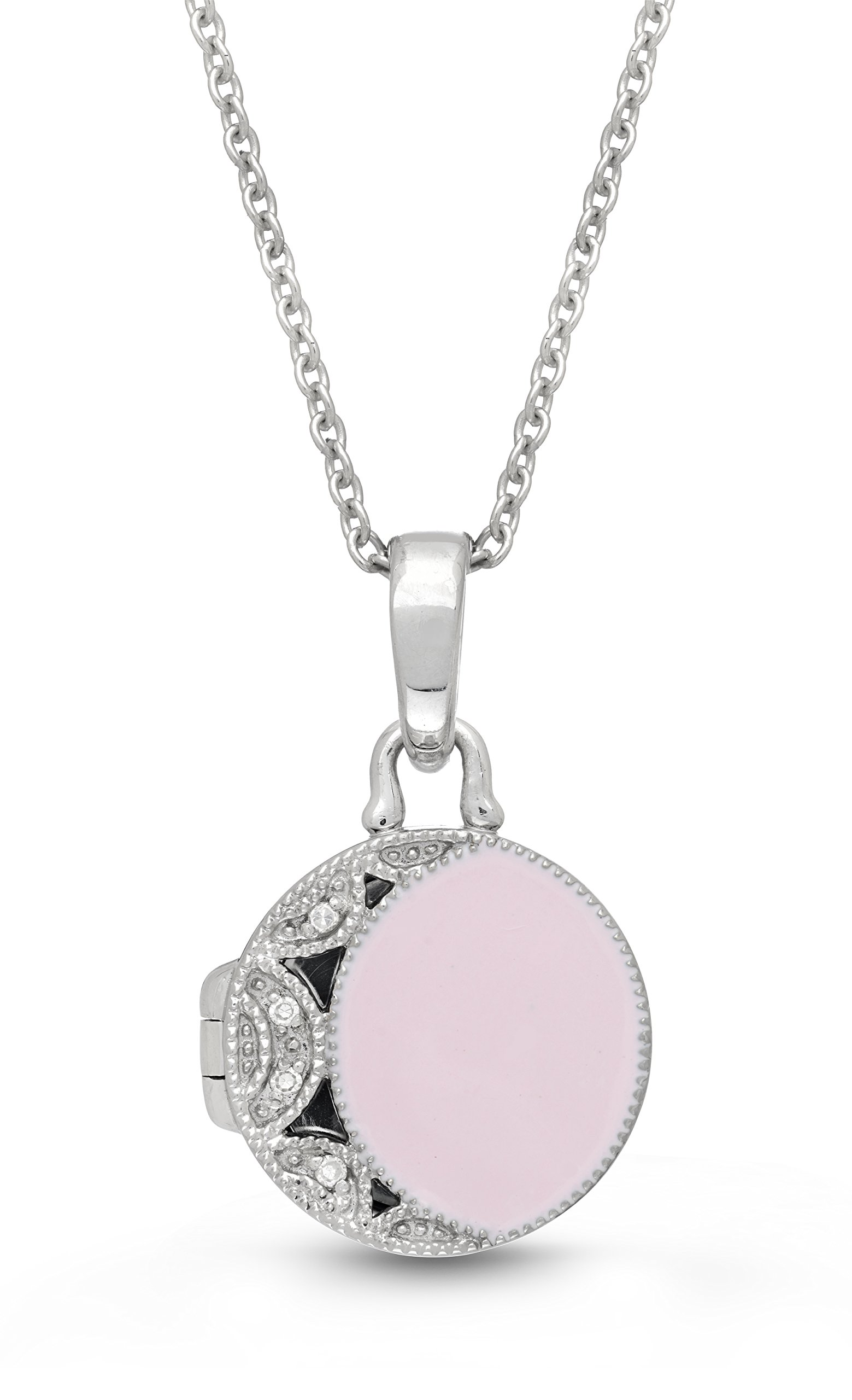 Sterling Silver-Pink Enamel-Custom Photo Locket Necklace-22-inch chain-The Kiera by With You Lockets