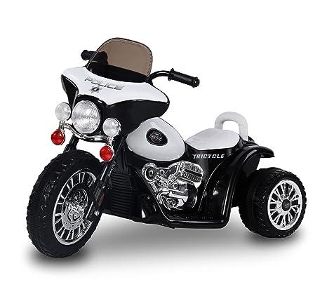 LT 846 Moto eléctrica para niños POLICE tres ruedas 6V sonidos realistas y luces (Negro