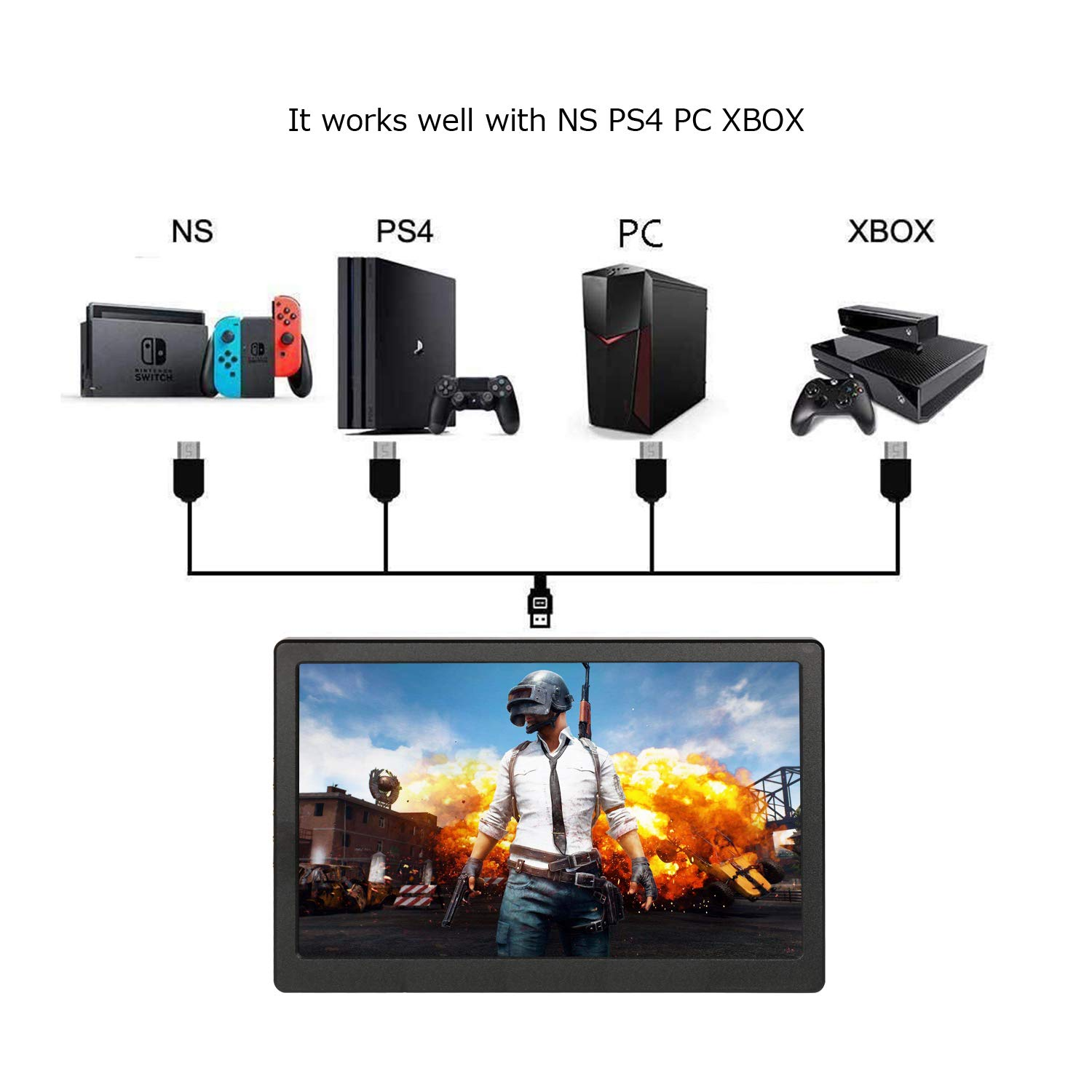 Portable Screen HDMI Monitor 1024×600 IPS Portable Display Monitor Built in Speaker for Raspberry Pi Computer Laptop PS3 PS4 Xbox one Ns xbox360 Black by UPERFECT (Image #5)
