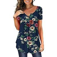 DEMO Tuniek dames bloemen tops V-hals korte mouwen knoopsluiting geplooide blouse T-shirt bovendeel