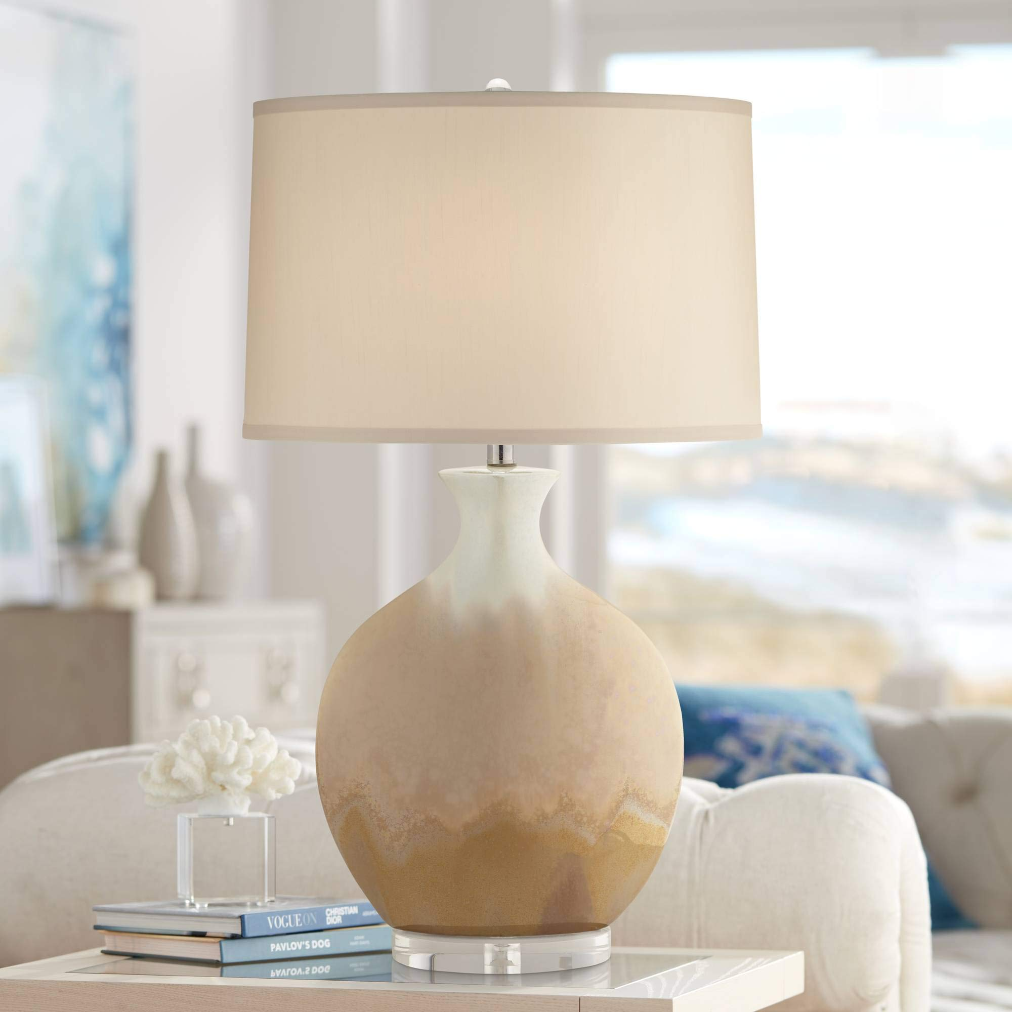 Marci Modern Contemporary Table Lamp Ceramic Porcelain Ivory Drip Glaze Off White Oval Shade Decor for Living Room Bedroom House Bedside Nightstand Home Office Entryway Family - Possini Euro Design