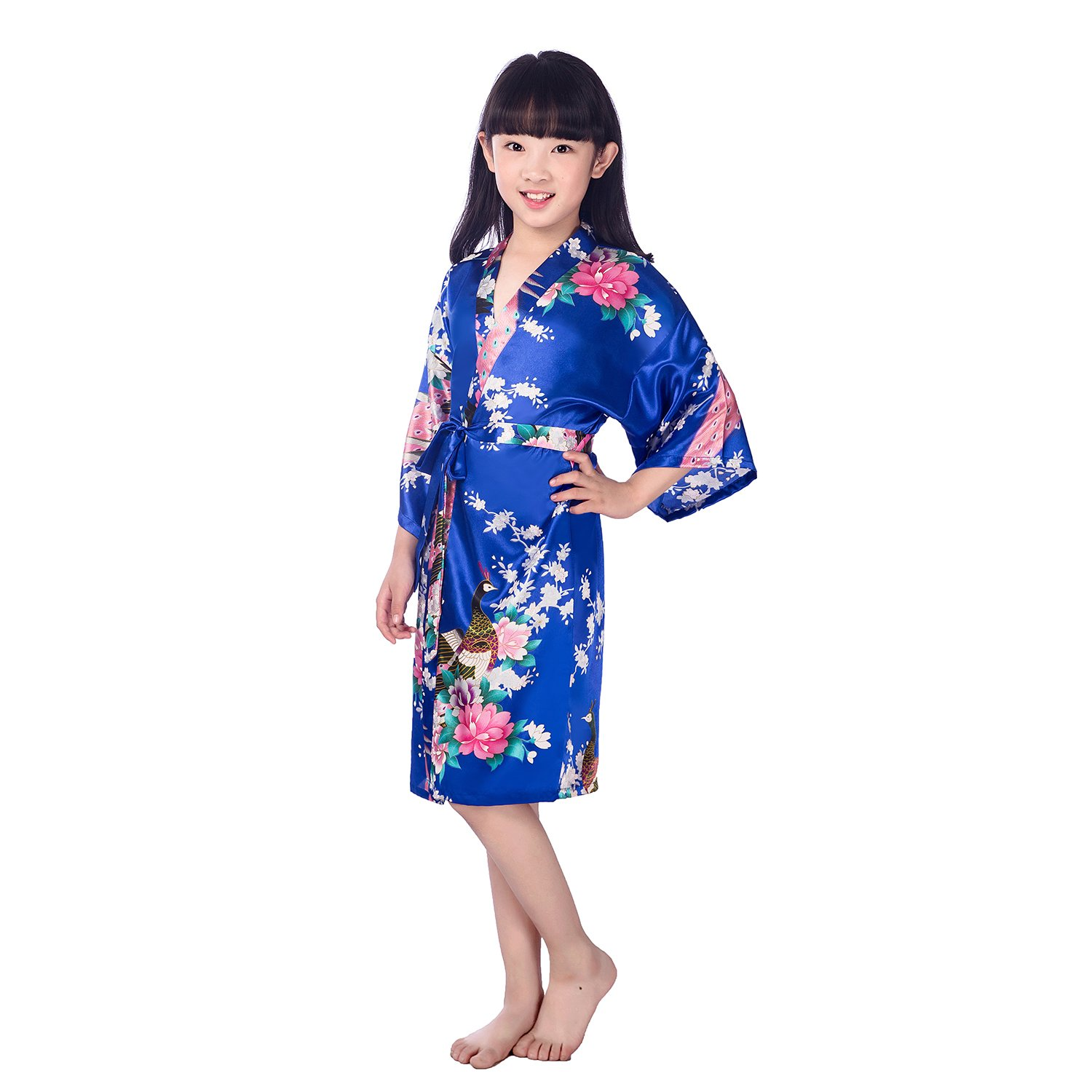 Amazon.com  Child s Satin Kimono Robes for Girls Sleepwear Peacock Flower  Robe for Spa Wedding Birthday Gift  Clothing 07fe95a12