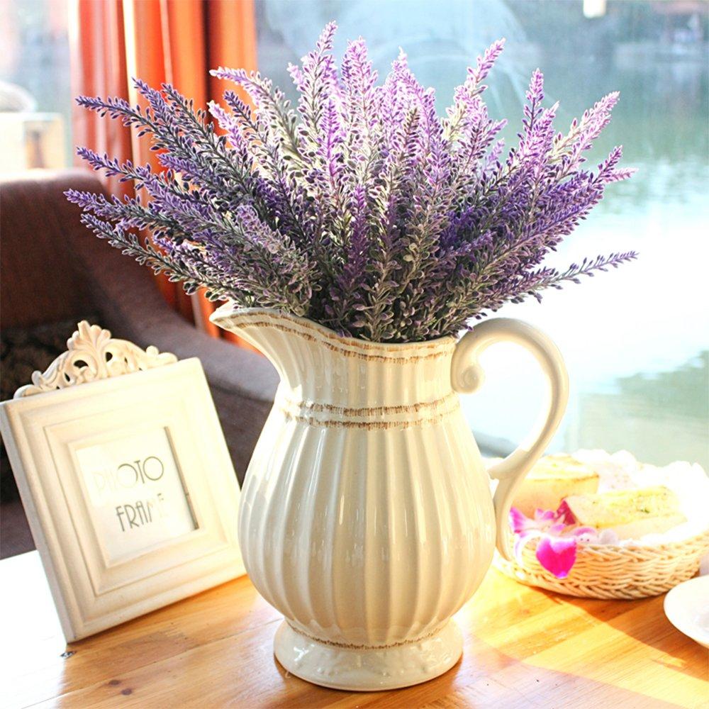 Grunyia 6 Bundles Artificial Flowers Lavender Bouquet in Purple Artificial Plant Arrangement Lifelike Natural Fake Plant to Brighten Up Your Home Decor Party Wedding Garden Office Patio Decoration