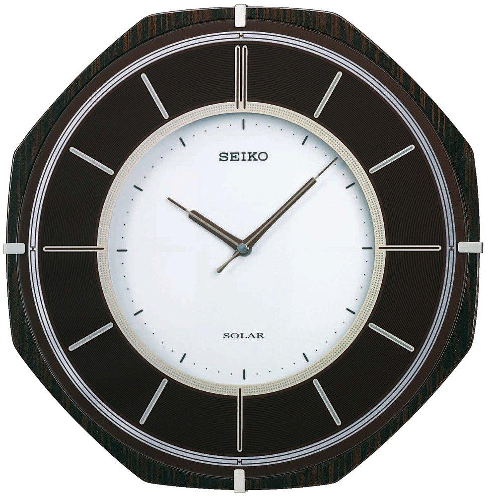セイコー クロック 掛け時計 SOLAR+ ソーラープラス 電波 アナログ 薄型 木枠 濃茶 木地 SF502B SEIKO B001BIUFZK