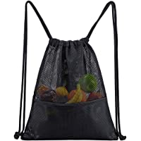 Heavy Duty Mesh Drawstring Bag, Gym Sports Backpack with Inside Pocket for Beach, Swimming, Travel, Work