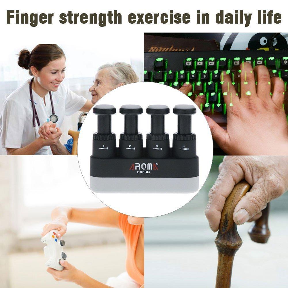 ergon/ómico de silicona escalada de roca entrenamiento de dedo piano Fortalecedor de dedos ejercitador de mano ajustable Oibtech entrenador para guitarra 4 tensiones terapia de artritis y agarre