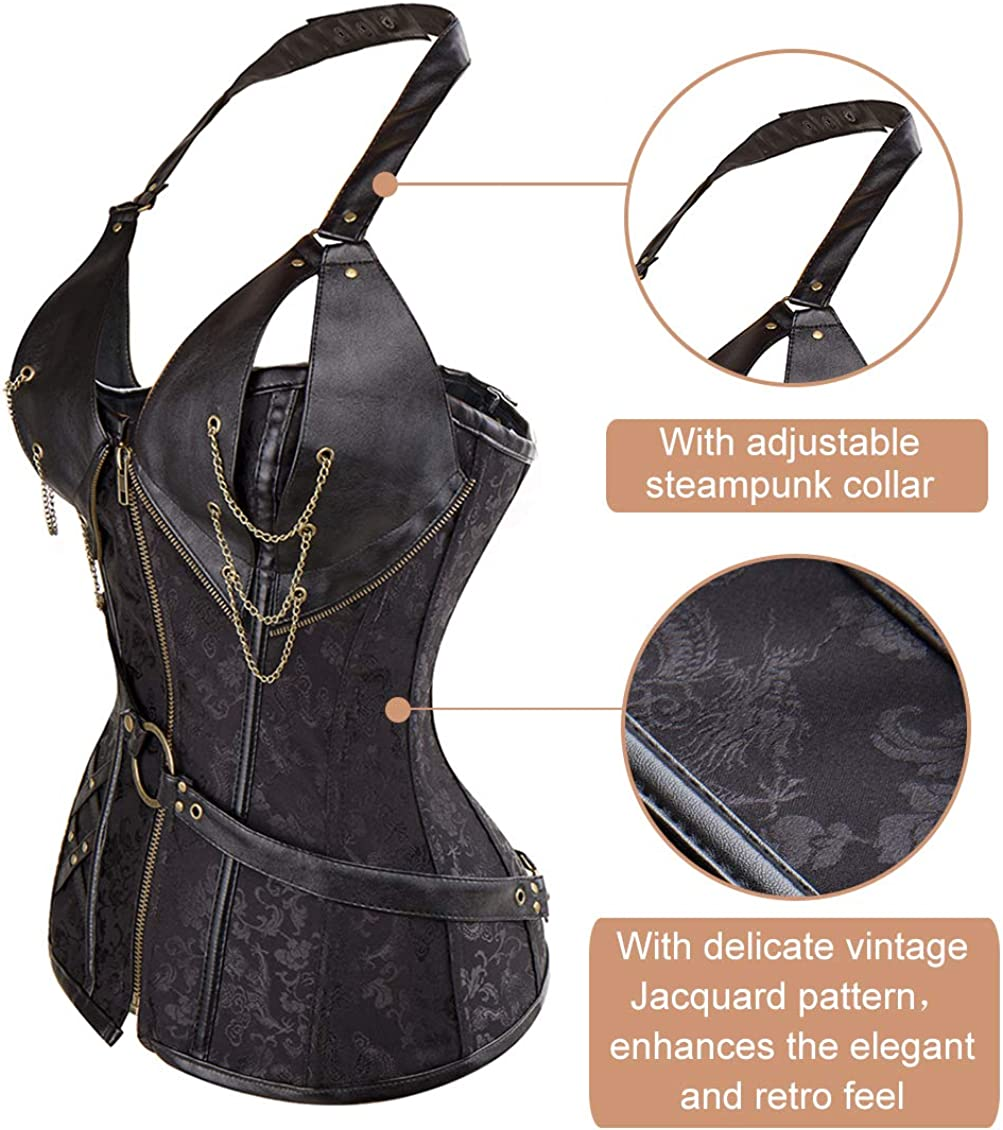MISS MOLY Womens Steampunk Corset Bustier Gothic Steel Boned Overbust Top Faux Leather Halter Strap Waistcoat with Zipper Buckles