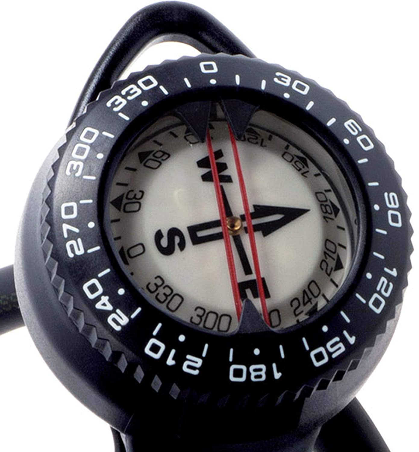 Black Cressi 2 Compass and Pressure Gauge Bar Diving Console