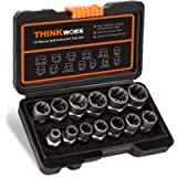THINKWORK Impact Bolt & Nut Remover Set, 13+1 Pieces Bolt Extractor Tool Set, Stripped Lug Nut Remover, Extraction…